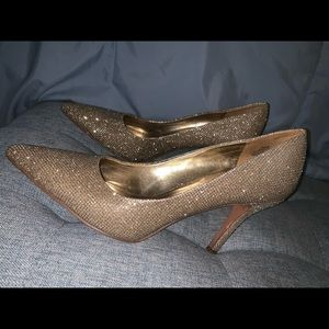 Shimmering Gold Nine West Pumps